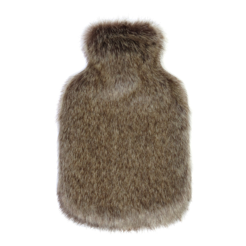Mid brown faux fur hot Water Bottle - Available in 2 Sizes by Helen Moore