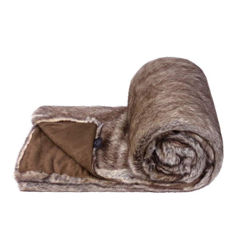 A mid brown Truffle colour faux fur bed runner by Helen Moore