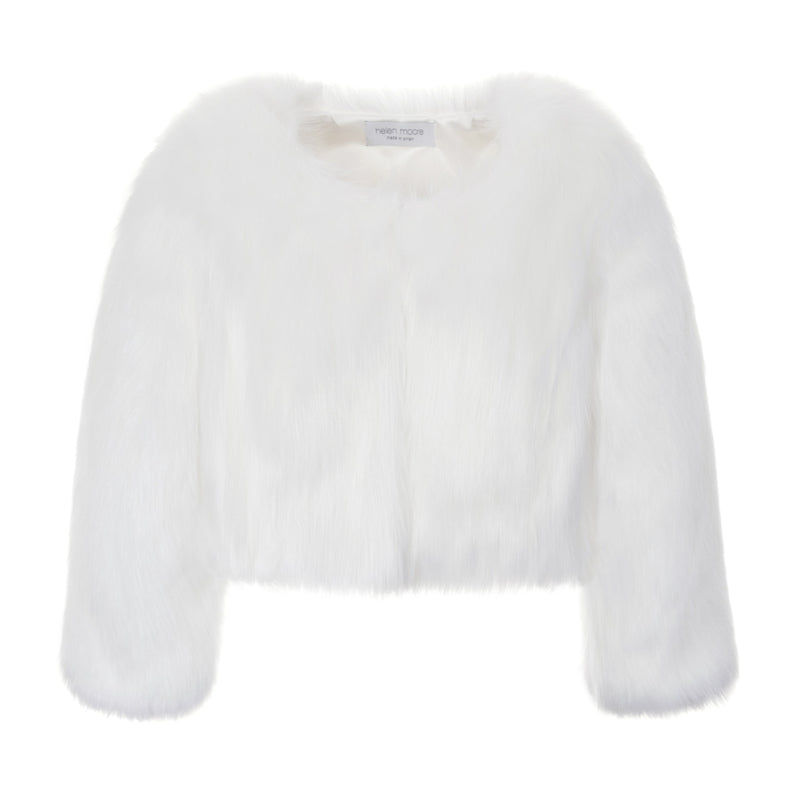 White faux fur short wedding jacket by Helen Moore