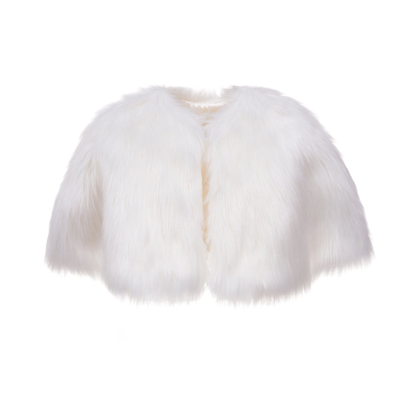 Faux Children's white faux fur short cape for weddings and holy communion by Helen Moore