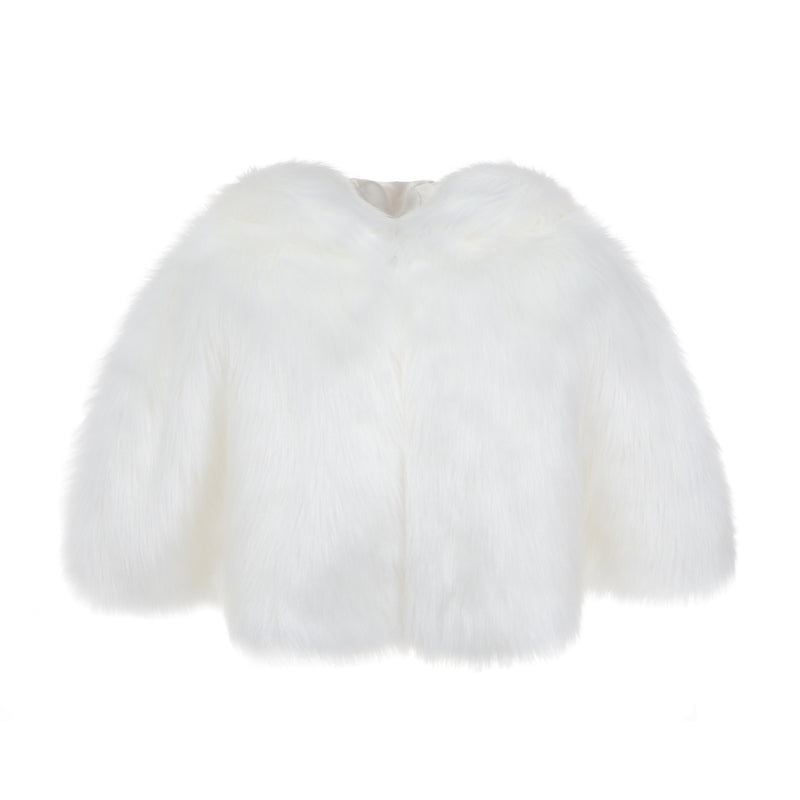 Faux fur hooded cape by Helen Moore