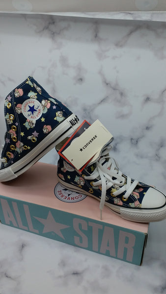 CONVERSE ALL STAR Little Twin Stars Sanrio Sneakers Hi Top Navy Rare Kiki Lala 40th anniversary ( Size US 4)