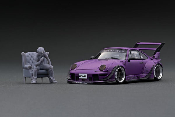 Ignition Model 1:43 Scale IG online shop/event special! IG2322 RWB 993 Rotana Matte Purple With Mr. Nakai sitting on sofa