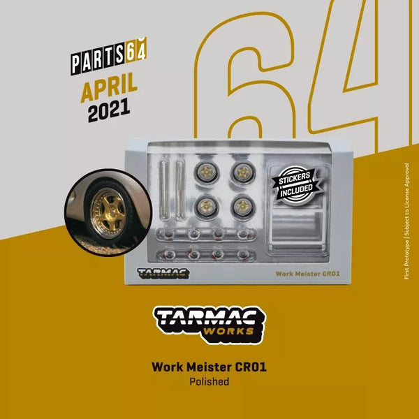 Tarmac Works Work Meister CR01 Gold Polished Rims with Tires fit 1:64 SCALE