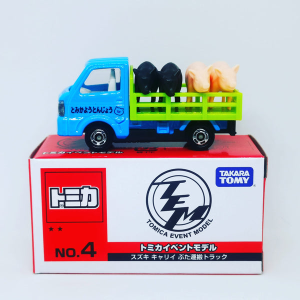 Tomica Event Model #4 Suzuki Carry Pickup Trucks with 4 piglets