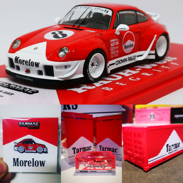 Tarmacworks 1:43 1:64 Scale Porsche 993 RWB Morelow set of two With Pin badges