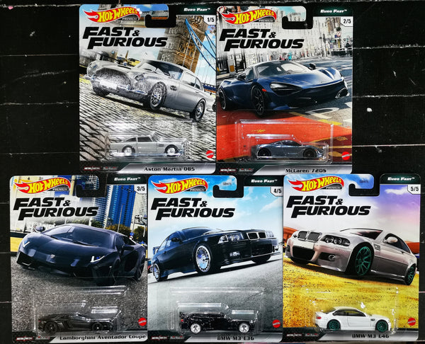 Hot Wheels Car Culture Fast and Furious Set of 5 K case
