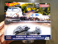 Hotwheels Team Transporter Porsche 356A outlaw with VW transporter T1 pick up