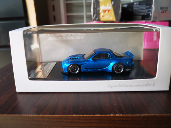 Ignition Model 1:64 Scale Mazda RX7 FD3S Rocket Bunny Blue Metallic