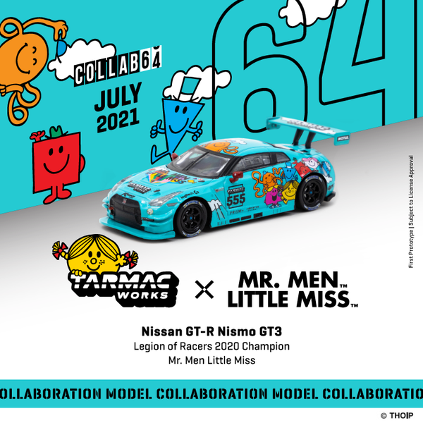Tarmacworks 1:64 Scale Nissan GT-R Nismo GT3 Legion of Racers 2020 Overall Champion Mr. Men Little Miss *** Official Collaboration with Mr. Men Little Miss ***""