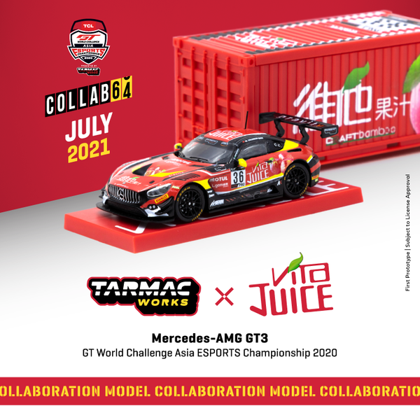 Tarmacworks 1/64 Scale Mercedes-AMG GT3 GT World Challenge Asia ESPORTS Championship 2020 Matt Solomon *** With Container *** *** Official Collaboration with Vita ***""