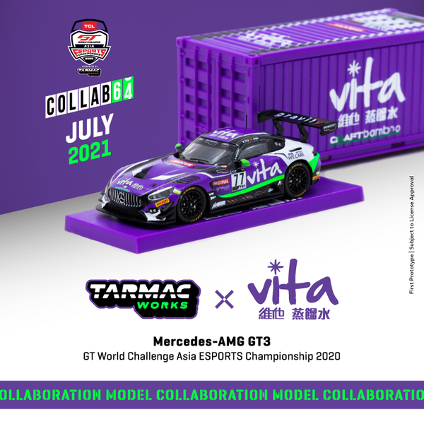 Tarmacworks 1/64 Scale Mercedes-AMG GT3 GT World Challenge Asia ESPORTS Championship 2020 Frank Yu *** With Container *** *** Official Collaboration with Vita ***