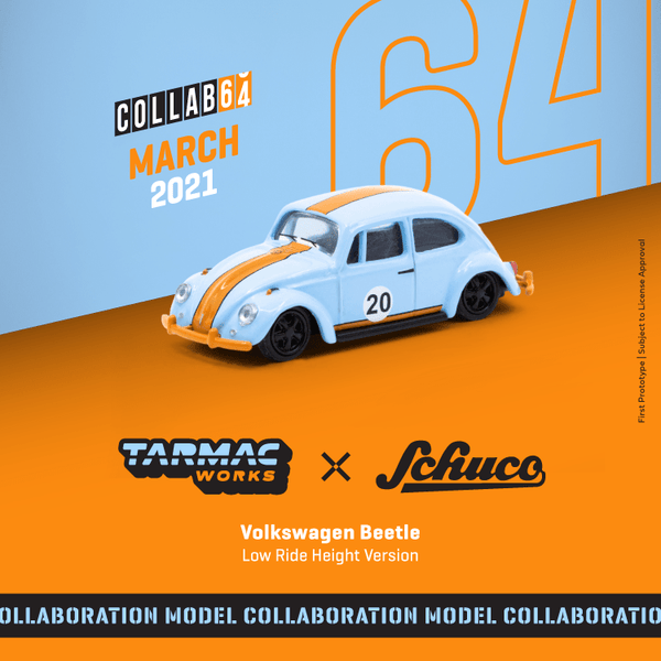 Tarmac Works X Schuco Volkswagen Beetle Gulf Blue/Orange Low Ride Height