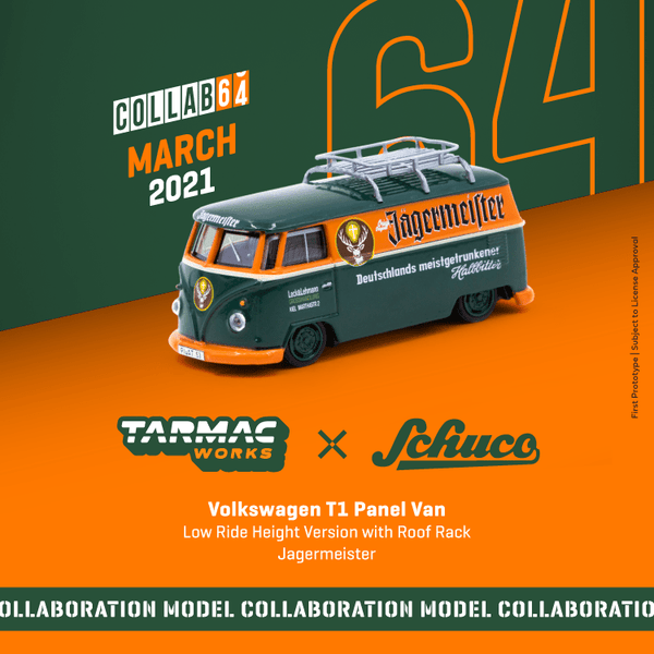 Tarmac Works x Schuco Volkswagen T1 Panel Van Jagermeister Low Ride Height with Roof Rack