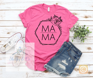 Floral Hexagon MAMA T-Shirt-Adult
