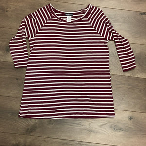 Maroon/White Striped Top