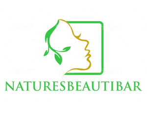 A WOMANS FACE WITH GREEN LEAVES AS HER HAIR,NATURESBEAUTIBAR IS AN ONLINE STORE THAT SELLS ALL NATURAL SKINCARE PRODUCTS SUCH AS BODY BUTTERS,ORGANIC SOAPS,NATURAL BATH BOMBS,SHEA BUTTER,AFRICAN BLACK SOAP,NATURAL HANDMADE LUFFA SOAPS AND MANY MORE