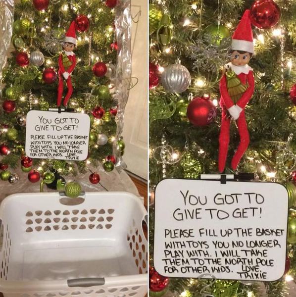elf on a shelf hanging from a tree