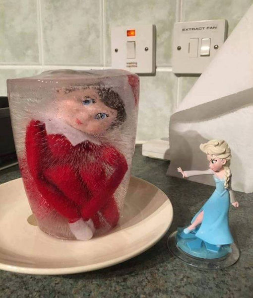 elf on a shelf stuck in ice with elsa