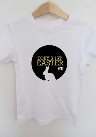 {name} 1st Easter 2017 bunny circle t-shirt