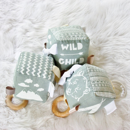 Wild Child Grey and White Soft Activity Block Cube