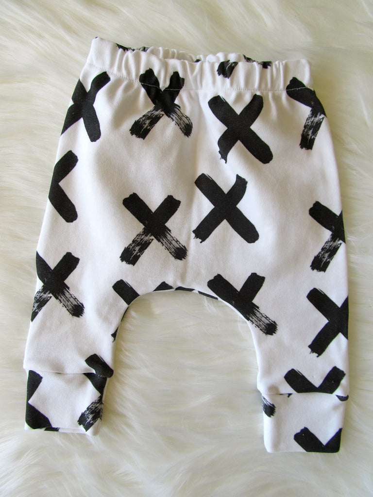 White with black cross leggings