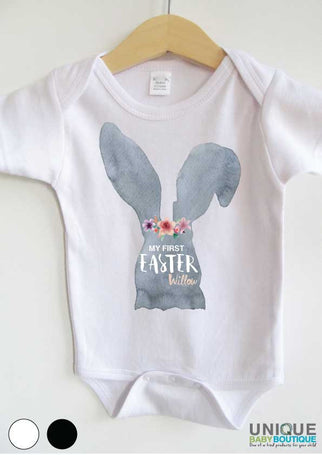 My first Easter grey bunny and flowers {personalised}