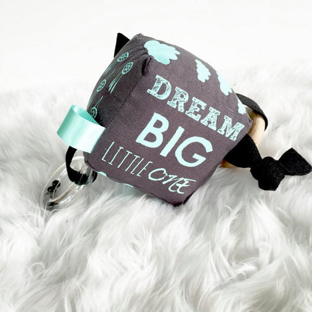 Dream Big on Charcoal Hand Printed Activity Rattle Block