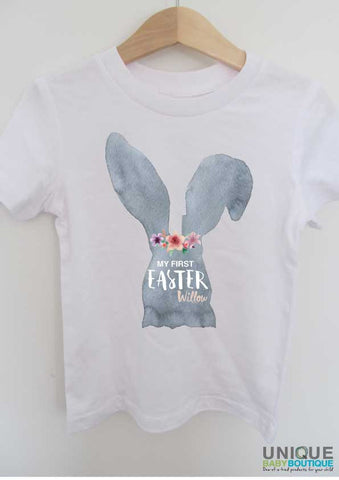 My first Easter bunny with flowers {personalised} t-shirt