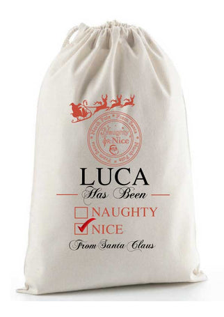 Personalised Traditional Santa Sack - Naughty or Nice