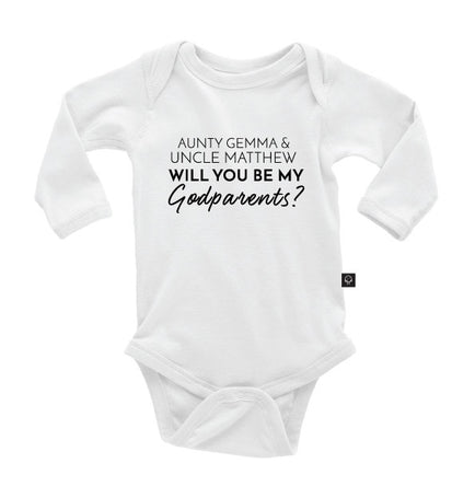 943d6eb36 Onesie; {Name} Will you be my Godparents? Onesie ...