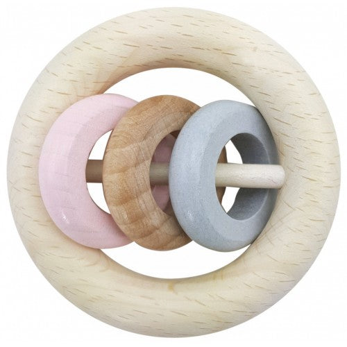 Hess-Spielzeug Rattle Round 3 Rings Natural Pink