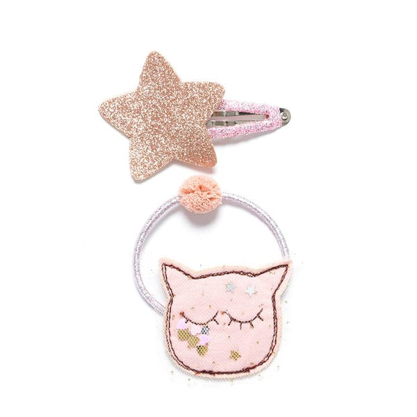 Cat Face Hair Tie and Star Clip