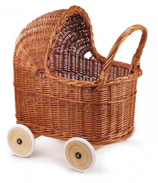 XL German Wicker Pram with rubber wheels and Bedding