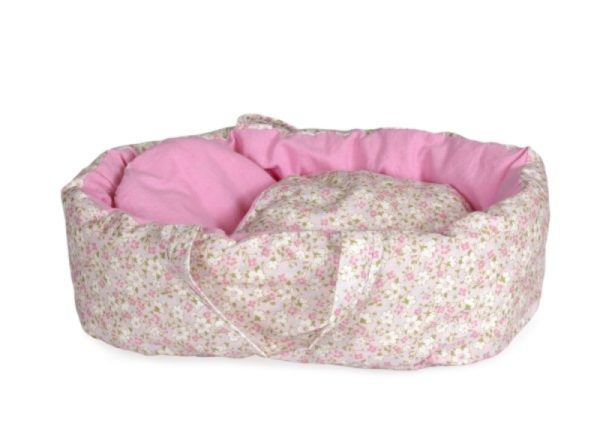 Carry Cot with Light Pink Floral Print Eugene Large