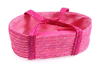 Baby Doll Straw Moses Basket w/Bedding Hot Pink