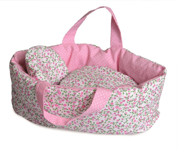 Carry Cot with Floral Bedding Large
