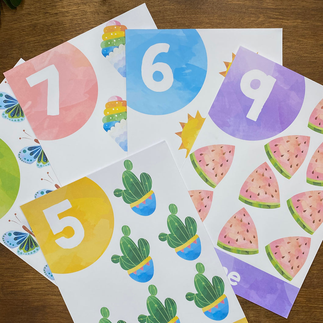 RAINBOW WATERCOLOUR NUMBER POSTERS