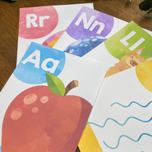 Load image into Gallery viewer, RAINBOW WATERCOLOUR ALPHABET POSTERS