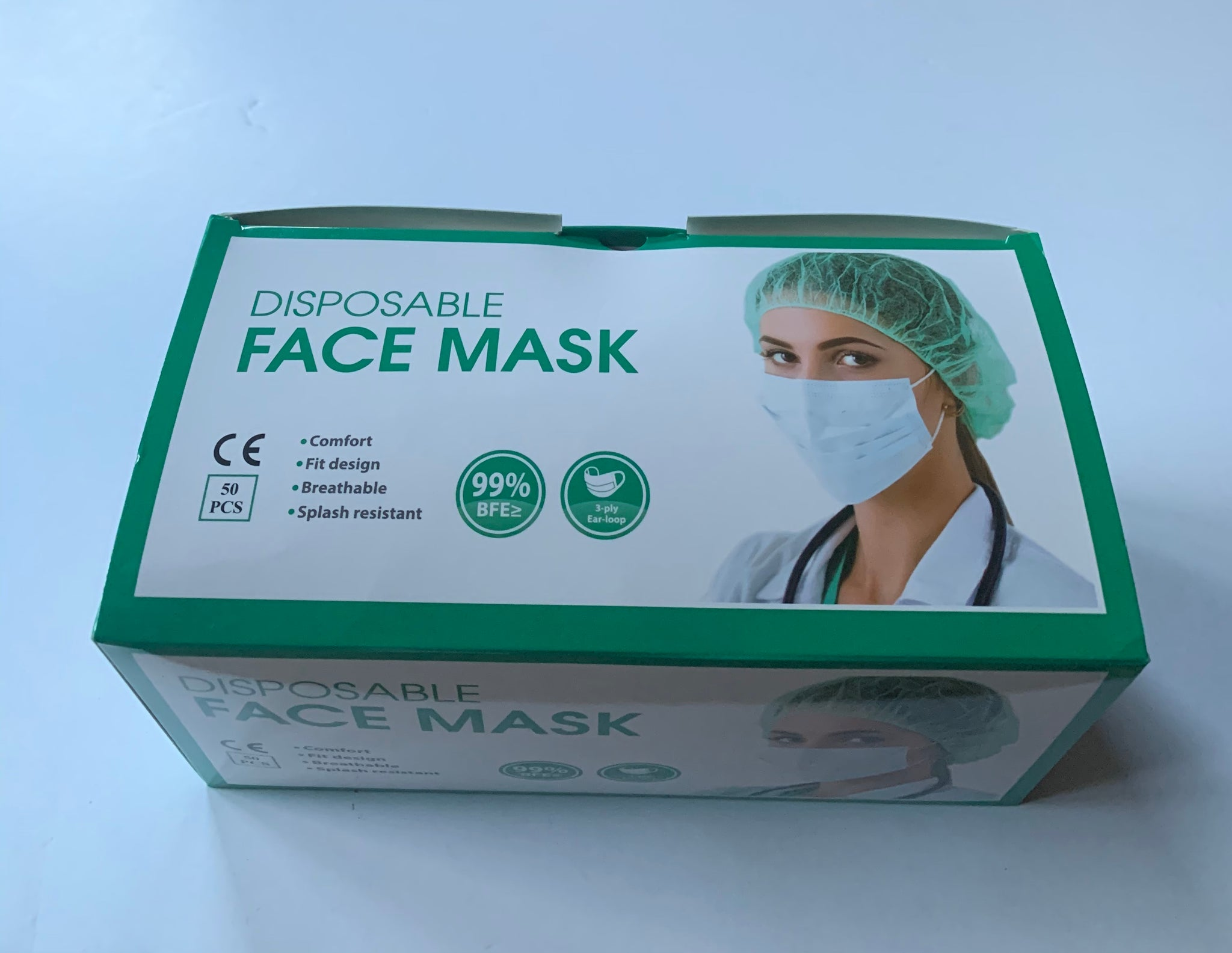 3 PLY DISPOSABLE FACE MASK WITH ELASTIC EAR LOOPS, 50 PCS