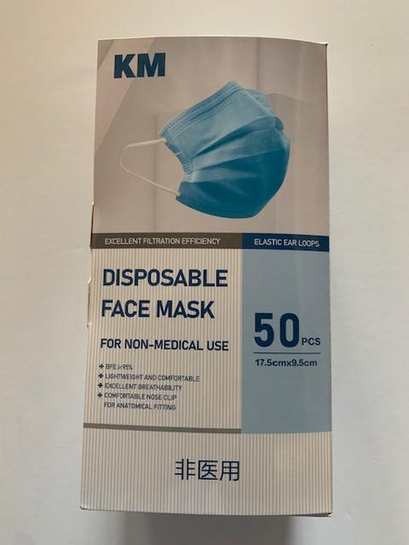 KM 3-Ply Face Masks, 50ct. Box