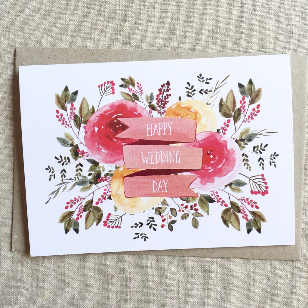 PINK PADDOCK - FLORAL WEDDING CARD single card