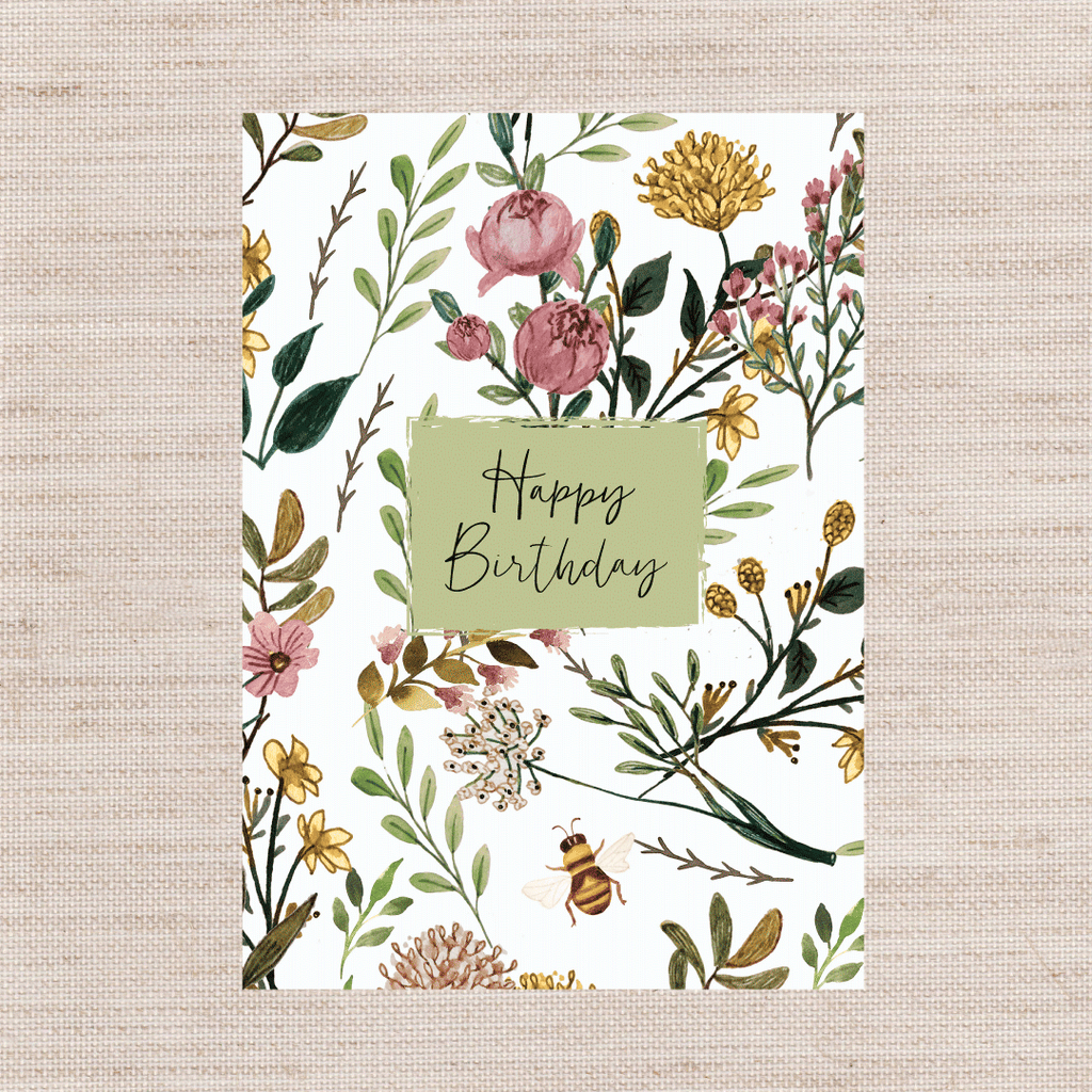 PINK PADDOCK - BEE BIRTHDAY single card