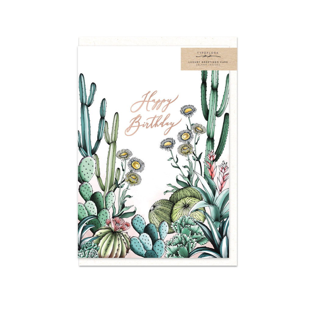 TYPOFLORA - HAPPY BIRTHDAY CACTUS single card