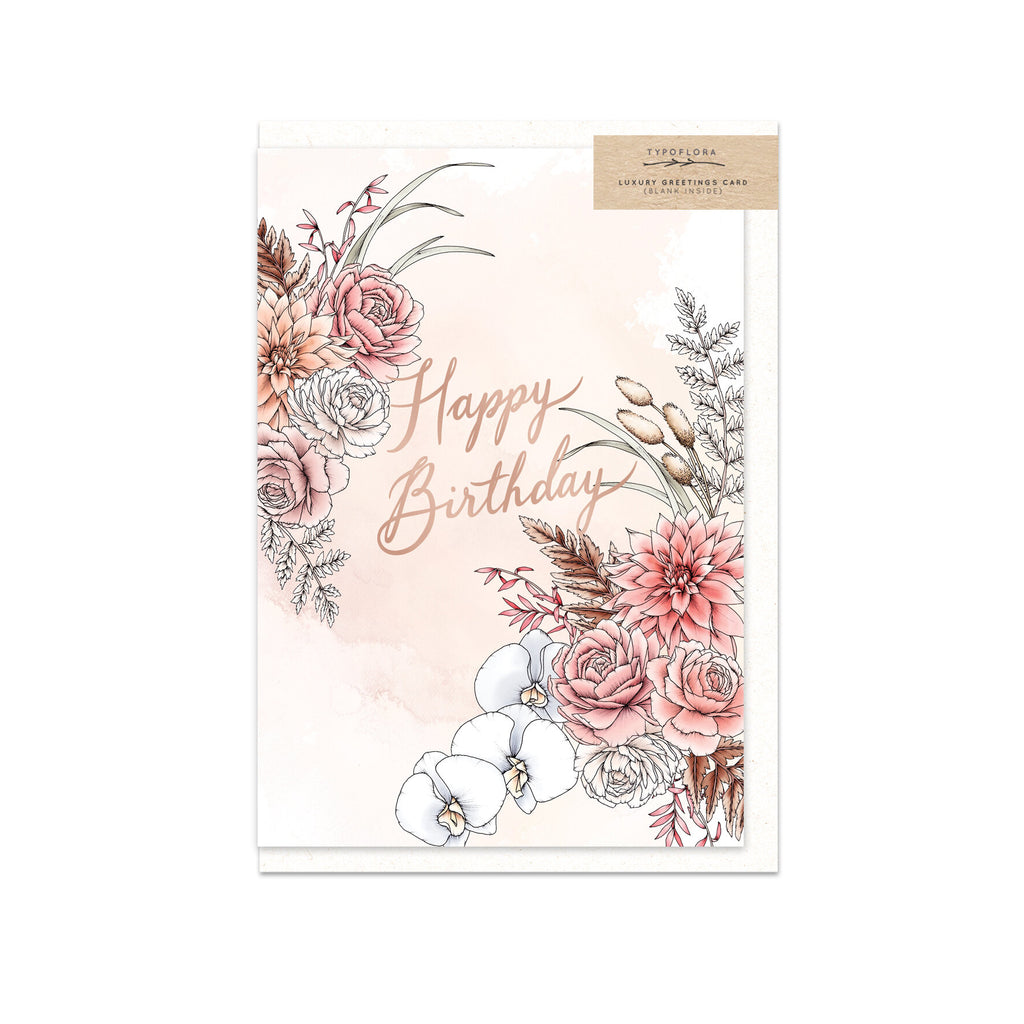 TYPOFLORA - DREAMY BIRTHDAY single card