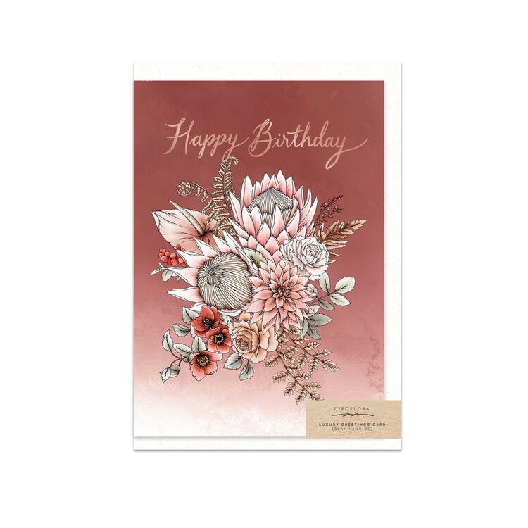 TYPOFLORA - KING PROTEA BIRTHDAY single card
