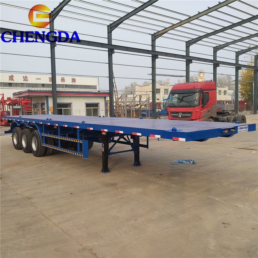 Tri-axle 20ft/40ft 40ton container semi flat bed flatbed trailer with container lock