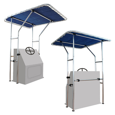 Center Console T-Top Bimini Boat Top With Shade Frame and UV Rated Marine Canvas