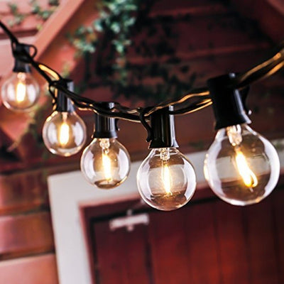 Patio Lights G40 Globe Party Christmas String Light,Warm White 25Clear  Outdoor Backyard Garland Lights