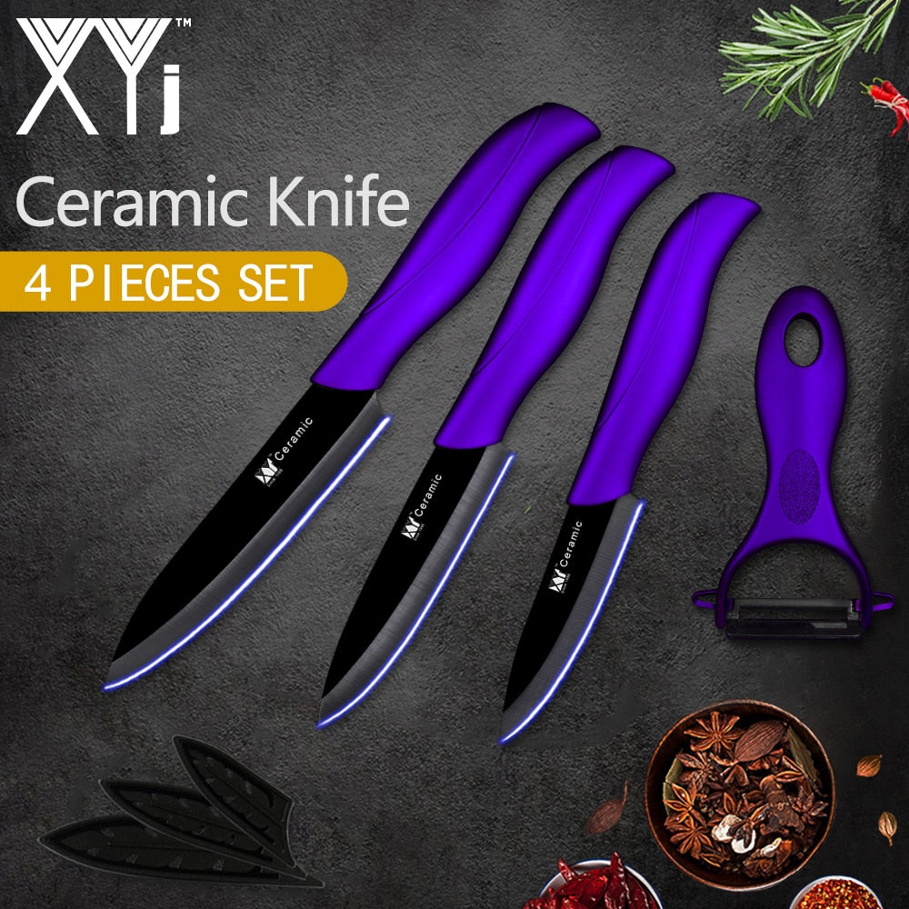 "XYj Kitchen Ceramic Knife Set Tool 3"" 4"" 5"" inch + Gift Peeler Black Blade Red Purple Blue Handle Knives Cooking Accessories"